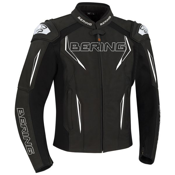 Bering Sprint-R Black White Grey Leather Motorcycle Jacket S