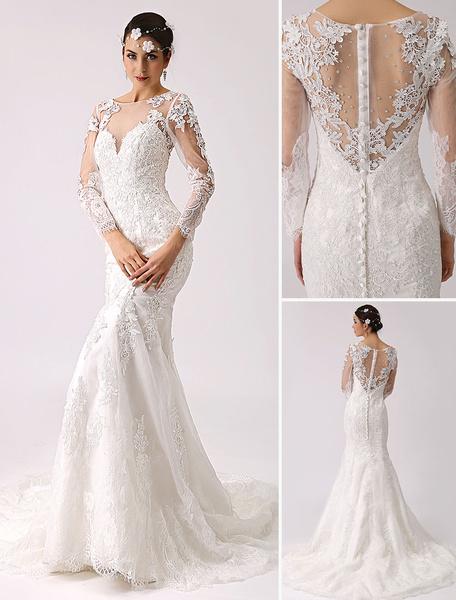 Milanoo Vestido de novia de encaje con escote transparente