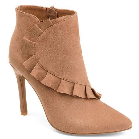 Journee Collection Womens Cress Stiletto Heel Zip Booties, 6 Medium, Brown