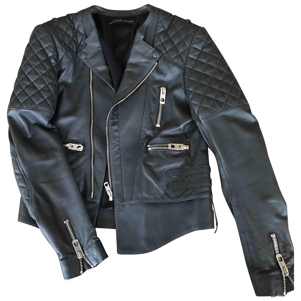 Balenciaga \N Grey Leather Leather jacket for Women 38 FR
