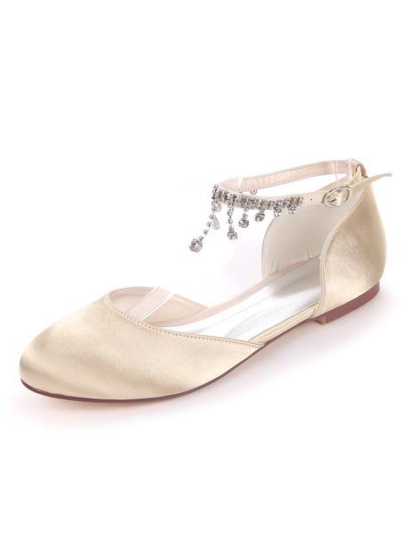 Milanoo White Wedding Shoes Satin Round Toe Rhinestones Chain Bridesmaid Shoes Flat Bridal Shoes