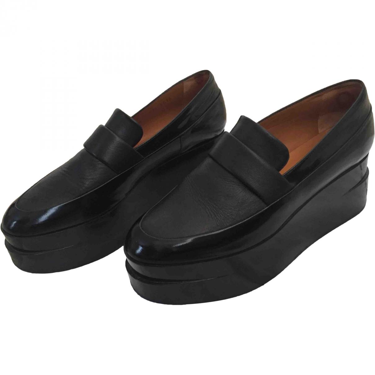 Robert Clergerie \N Black Leather Flats for Women 36.5 EU