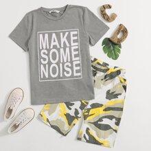 Top mit Buchstaben Grafik & Shorts mit Camo Muster