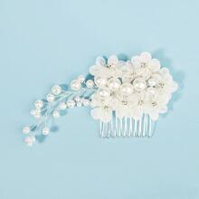 Faux Pearl Decor Flower Hair Comb
