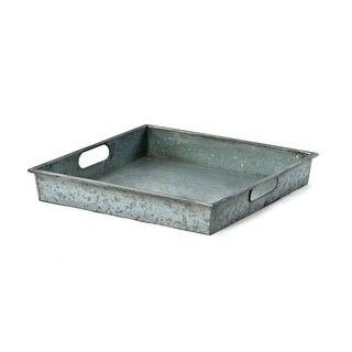 Saltoro Sherpi  Square Galvanized Metal Tray With Handle, Gray - M (M)