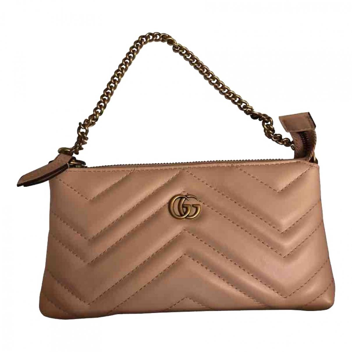 Gucci - Pochette Marmont pour femme en cuir - beige