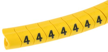 HellermannTyton Helagrip Slide On Cable Marker, Pre-printed 4 Black on Yellow 4 → 9mm Dia. Range