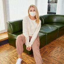 Drop Shoulder Solid Pullover With Mask