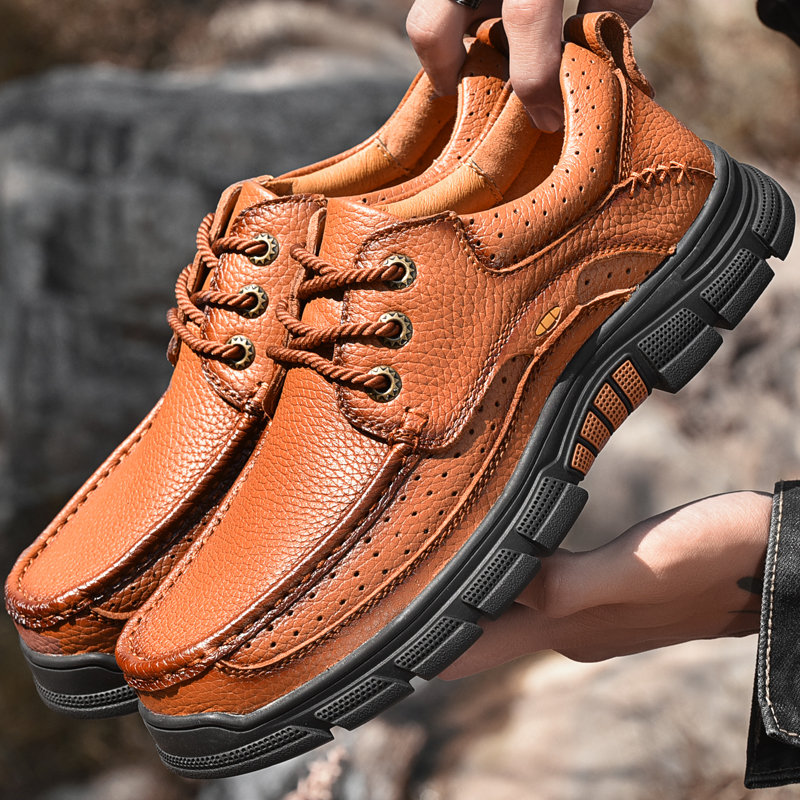 Men Genuine Leather Non Slip Soft Sole Outdoor Casual Shoes