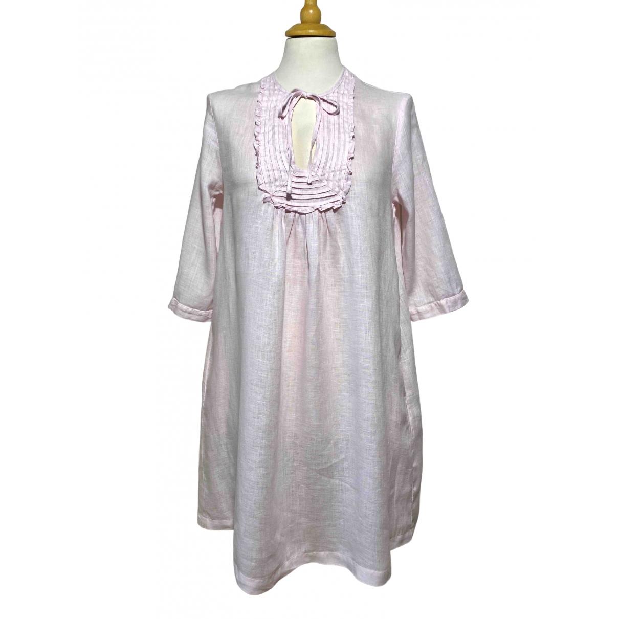 120% Lino - Robe   pour femme en lin - rose