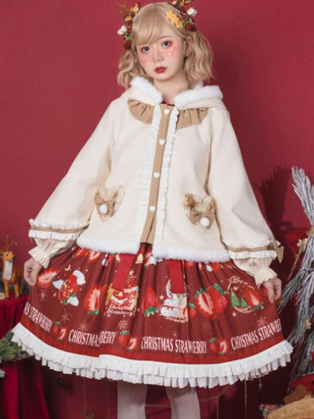 Milanoo Sweet Lolita Coats Ecru White Ruffles Top Synthetic Winter Lolita Outwears