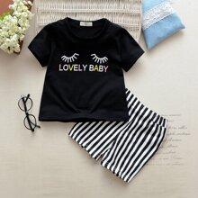 Kleinkind Maedchen T-Shirt mit Wimpern und Buchstaben Msuter und Rock mit Streifen Muster