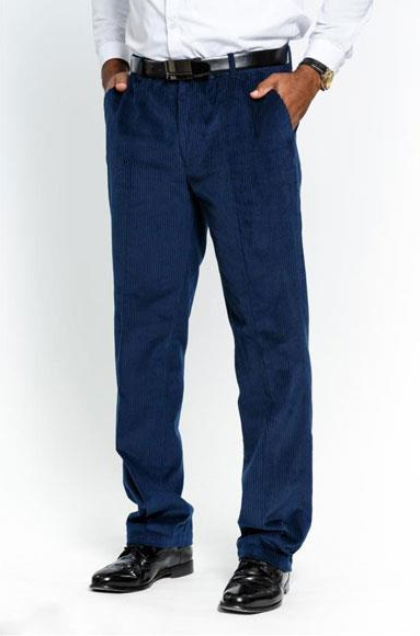 Men's Stylish Flat Front Corduroy Navy Formal Dressy Pant