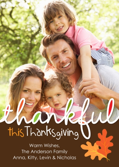 Thanksgiving Photo Cards Mail-for-Me Premium 5x7 Flat Card, Card & Stationery -Thanksgiving Thankful