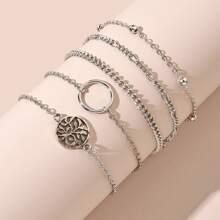 5pcs Round Decor Chain Bracelet