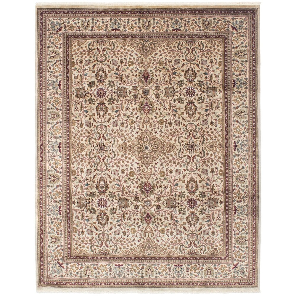 Hand-knotted  Jamshidpour Ivory Wool Rug  ECARPETGALLERY - 7'10 x 10'0 (Ivory - 7'10 x 10'0)