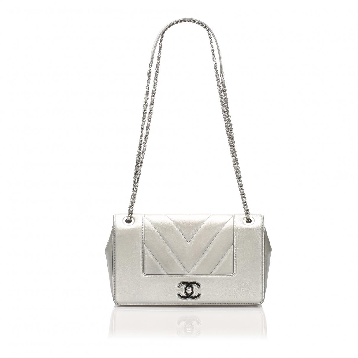 Chanel - Sac a main   pour femme en cuir - argente