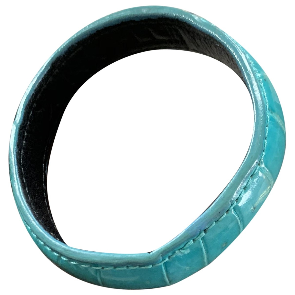 Ethan K - Bracelet   pour femme en alligator - bleu