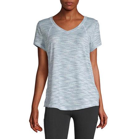 Xersion Womens V Neck Short Sleeve T-Shirt, X-small , White