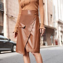 Solid Oblique Button PU Skirt