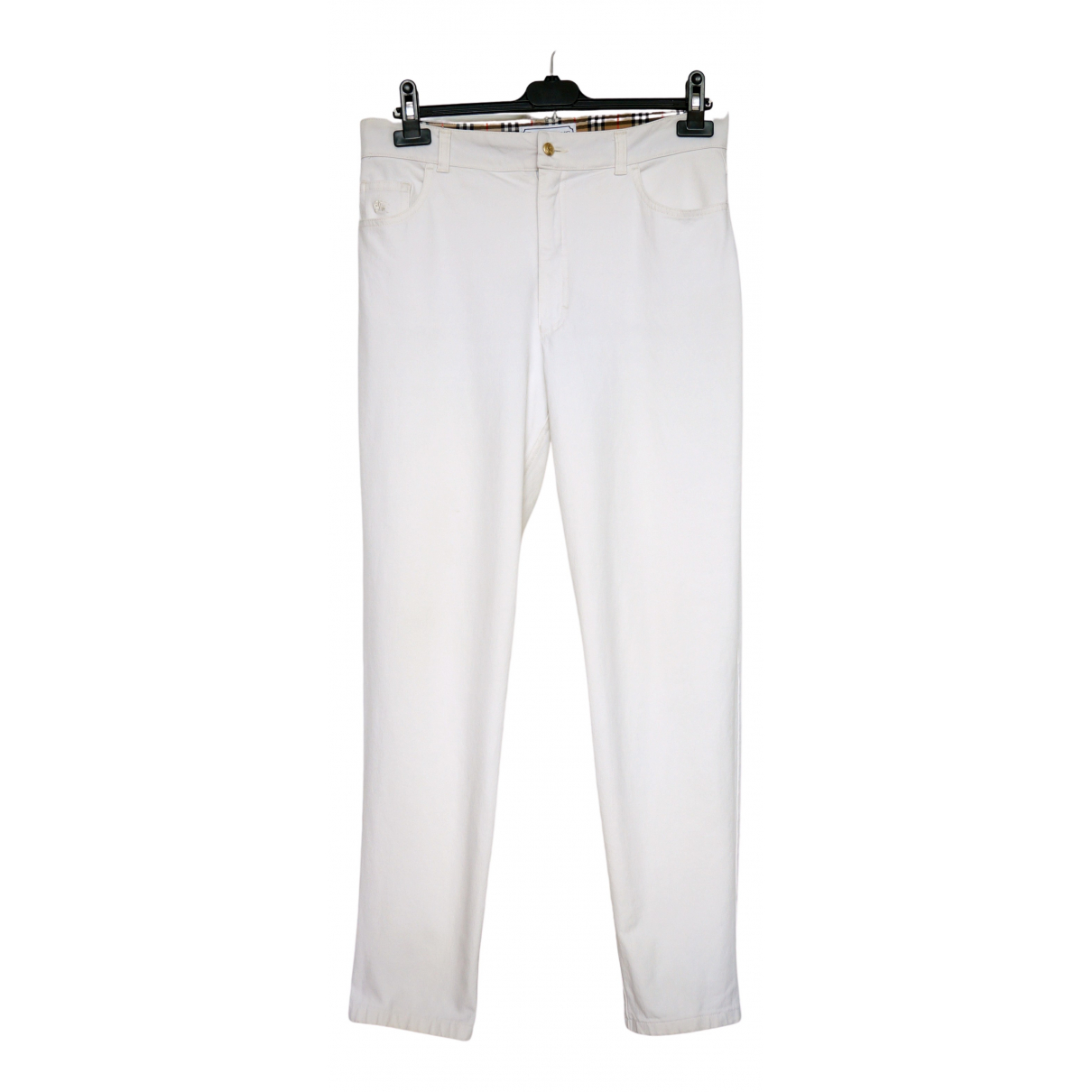 Burberry \N White Cotton Trousers for Women 16 UK