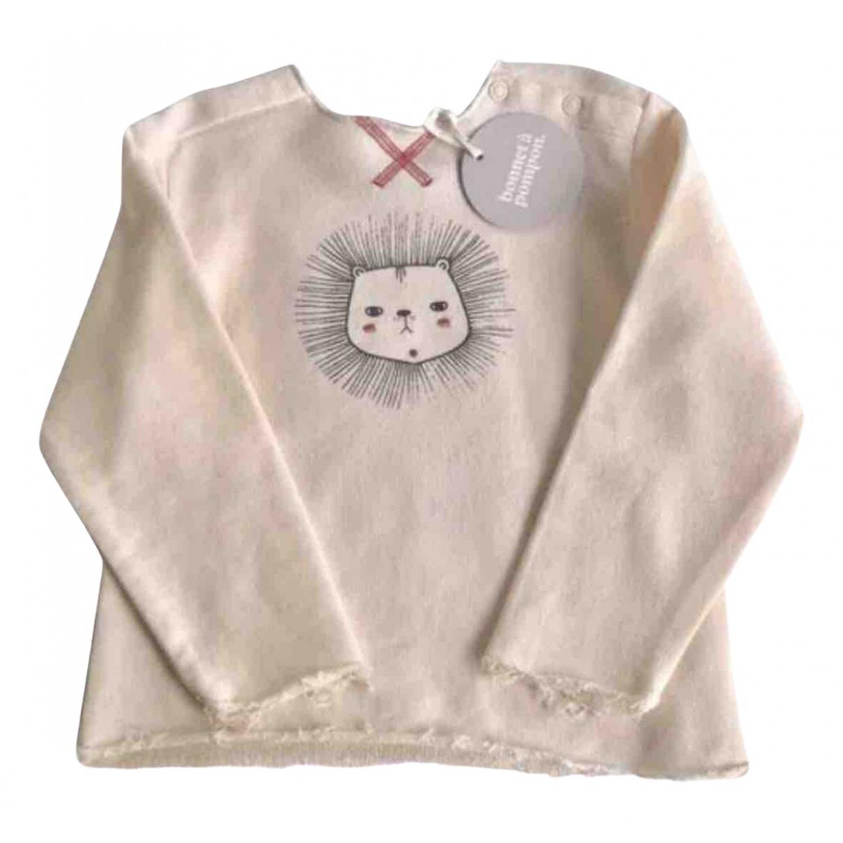 Bonnet A Pompon - Pull   pour enfant en coton - rose
