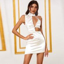 DKRX Satin Kleid mit Stehkragen und Ausschnitt