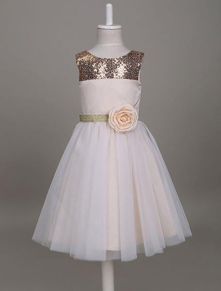 Milanoo Vestido de florista barato con escote redondo sin mangas estilo princesa hasta la rodilla Cremallera Color ligero de oro