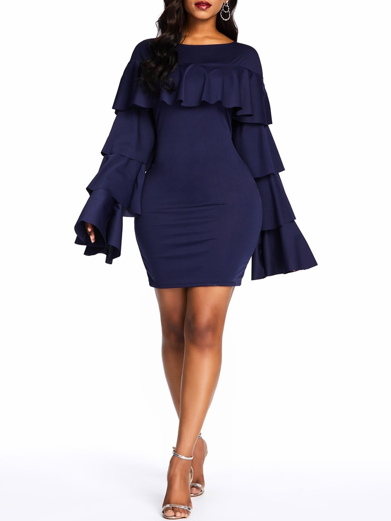 Ericdress Falbala Above Knee Long Sleeve Bodycon Ruffle Sleeve Dress