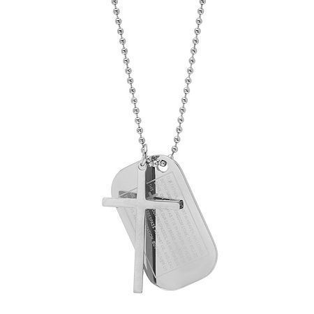 Mens Stainless Steel Pendant Necklace, One Size , No Color Family