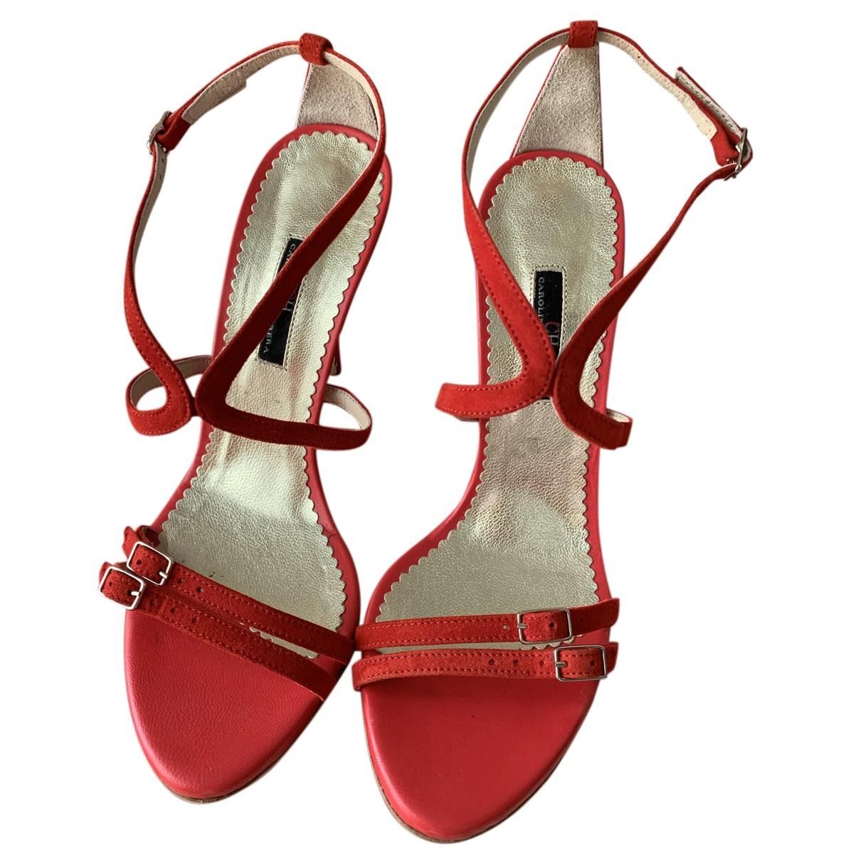 Carolina Herrera \N Sandalen in  Rot Leder