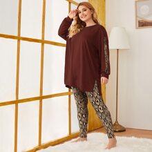 Conjunto de pijama top de piel de serpientes lateral bajo con abertura de hombros caidos con leggings