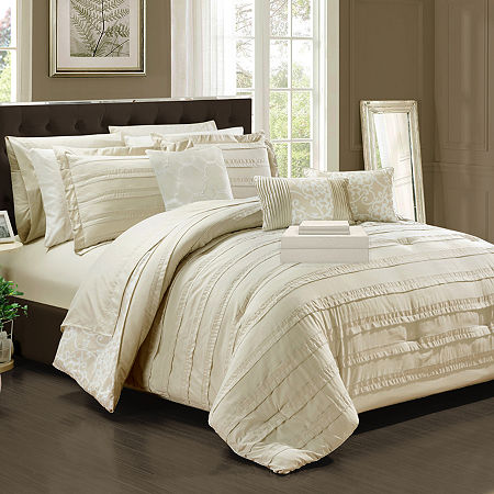 Chic Home Lea 10-pc. Midweight Reversible Comforter Set, One Size , Beige