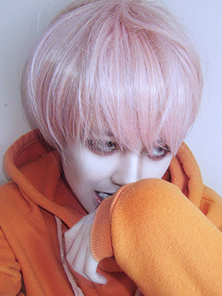 Milanoo Oji Lolita Wig Short Pink Heat Resistant Fiber Lolita Hair Wigs