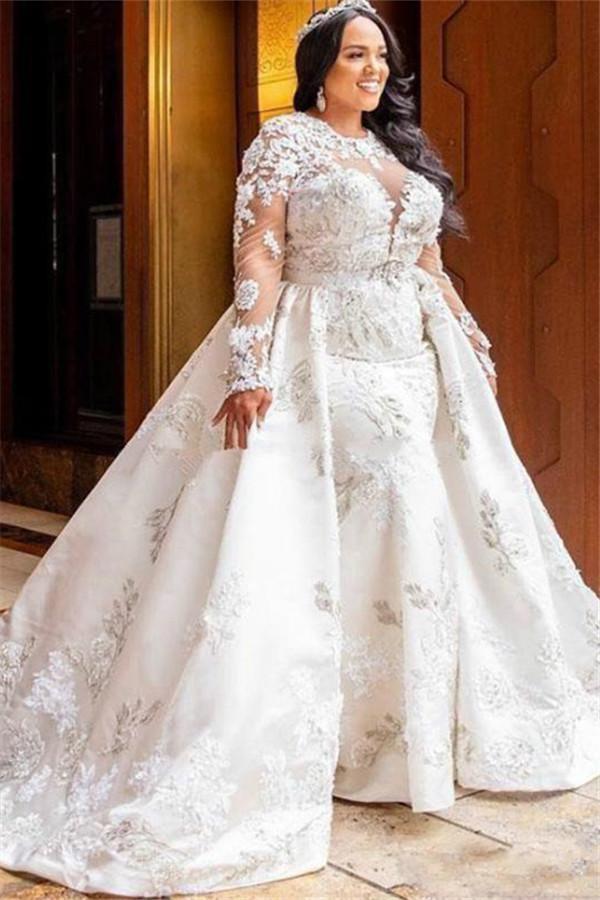 Langarm Lace White Mermaid Brautkleider mit trendigem Uberrock
