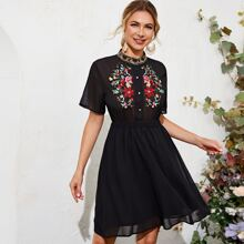 Mock Neck Floral Embroidered Chiffon Dress