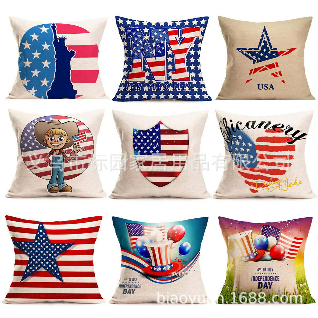 American Flag Pillows Decorative Pillow Cover for Sofa Independence Day Cotton Linen Cushion Cover Square 18