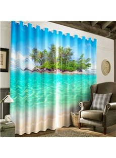 3D Crystal Clear Water and Green Island Printed Decorative and Heat Insulation Grommet Top Curtain