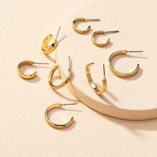 4pairs Textured Cuff Hoop Earrings