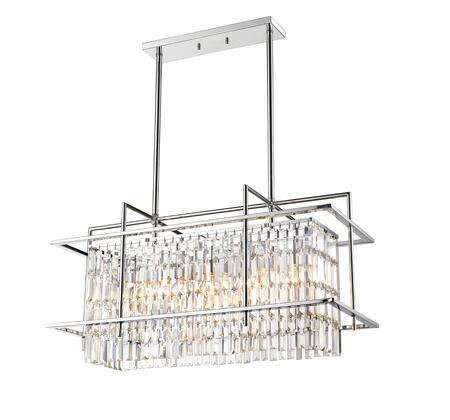YS6776-5P 5-Light Ceiling Fixture with Crystal and Iron Materials and 60 Watts in Chrome