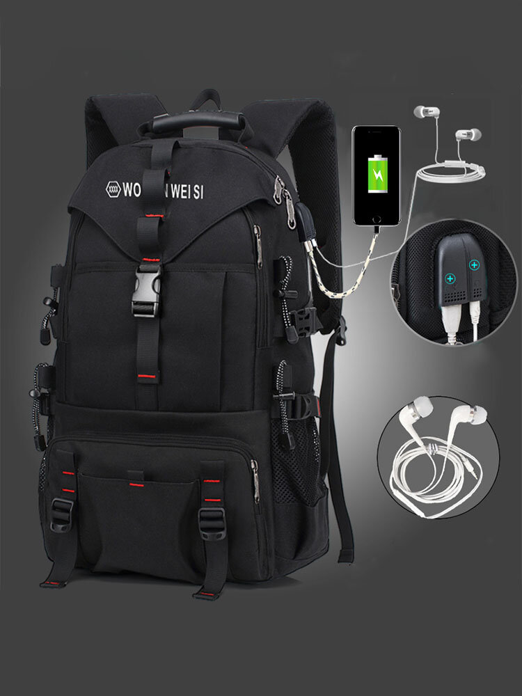 Men Outdoor Waterproof USB Charging Multi-pocket Travel Backpack