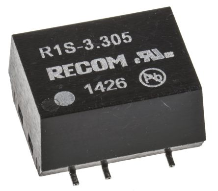 Recom R1S 1W Isolated DC-DC Converter Surface Mount, Voltage in 2.97 → 3.63 V dc, Voltage out 5V dc
