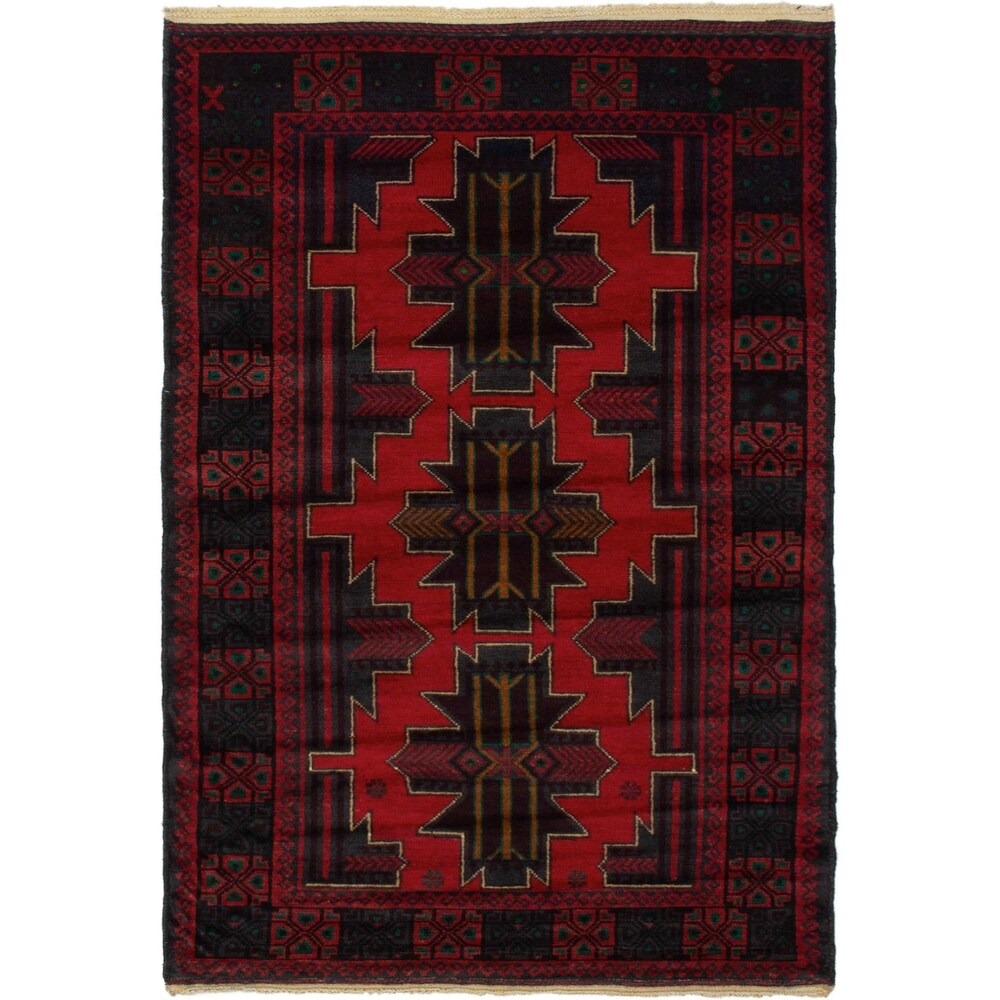 ECARPETGALLERY Hand-knotted Teimani Red Wool Rug - 3'9 x 6'0 (Red - 3'9 x 6'0)