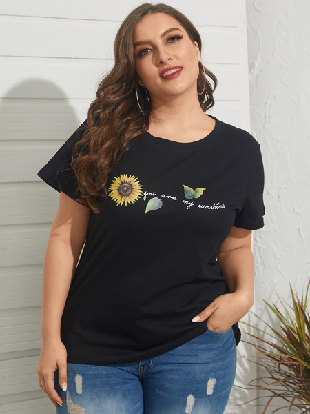 Yoins Plus Size Crew Neck Floral Print Short Sleeves Tee