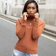 Pullover mit Stehkragen und Knopfen auf Manschetten