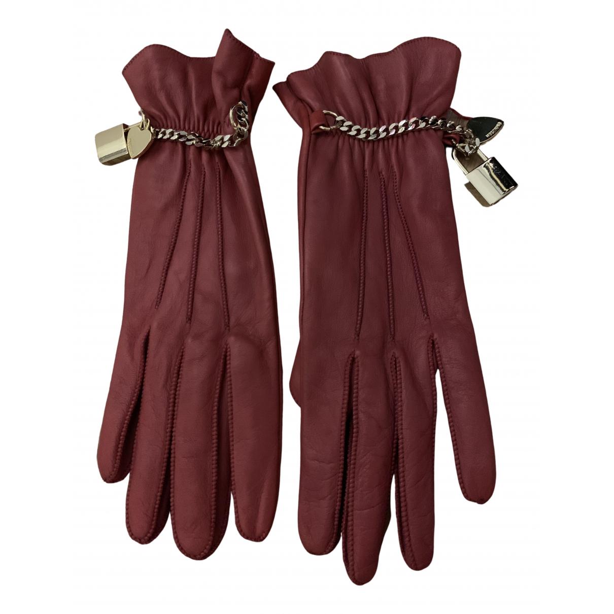 Moschino - Gants   pour femme en cuir - bordeaux