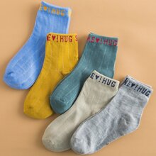 5pairs Toddler Boys Slogan Graphic Socks