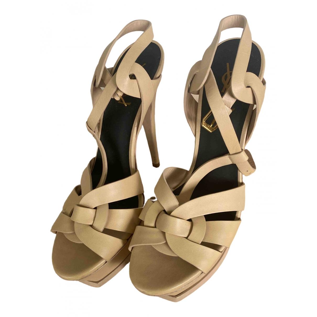 Saint Laurent Tribute Beige Leather Sandals for Women 40 EU