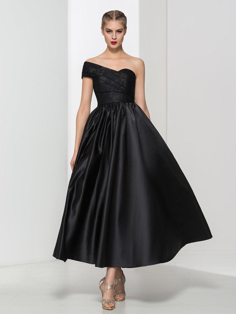 Ericdress One Shoulder Lace Pleats Ankle-Length Evening Dress