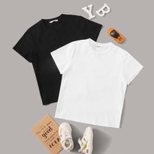 Jungen 2pcs Reines T-Shirt mit kurzen Ärmeln